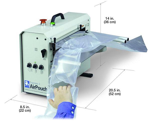 embalaje protector AirPouch de Automated Packaging Systems inflado a pedido with Dimensions